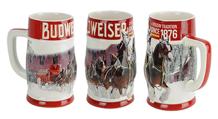 in stock now - Budweiser Christmas Steins